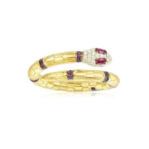 Silver Gold Plated Snake Ring With ZirconiaStones